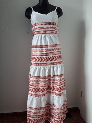 Vestido largo blanco-rojo ladrillo