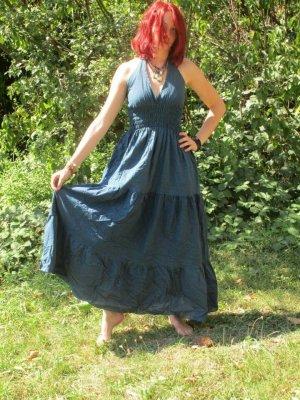 Sukienka boho stalowy niebieski Bawełna