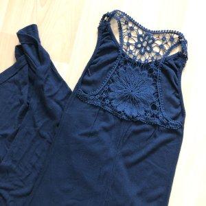 Maxikleid Gr S dunkelblau gerippter Stoff rücken Muster Stickerei langes Kleid