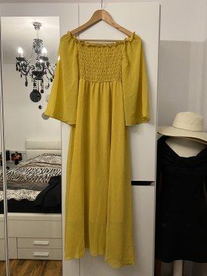 Vestido de chifón marrón-amarillo
