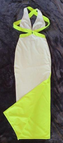 Maxikleid in Weiss & Neongrün