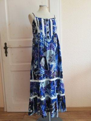 Maxikleid Kleid lang Maxi Gr. 38 S M blau weiß