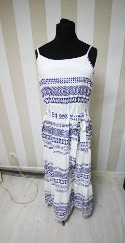 Vestido largo blanco-azul