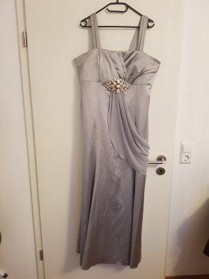 Maxikleid langes Kleid in silber mit Steinchen Gr.  42