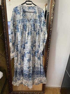 Maxikleid Maxidress Kleid S blau weiß