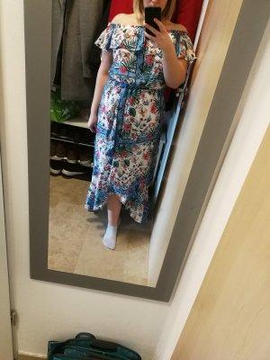 Amisu Robe épaules nues rouge clair-bleu azur