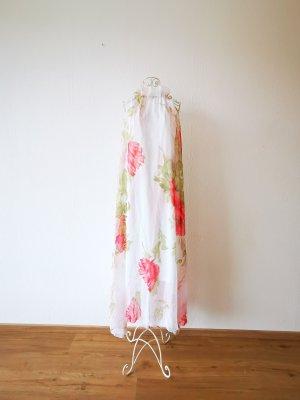 Sukienka z dekoltem typu halter biały-malina