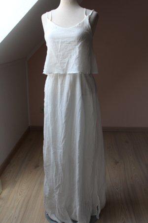 Maxikleid Sommerkleid Kleid lang wollweiß Lagenlock 100 % Baumwolle neu Gr. 40 M L  hippie