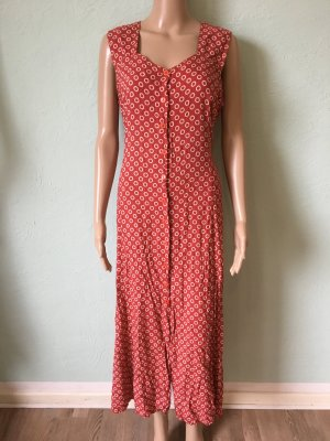 Maxikleid Viskose Rot Gepunktet Rayon Vintage
