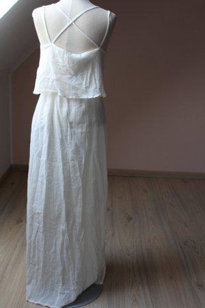 Maxikleid weiß wollweiß neu Gr. 34 XS Lagenlook Trägerkleid lang Sommer Sommerkleid