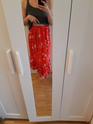 H&M Divided Maxi Skirt red-pink