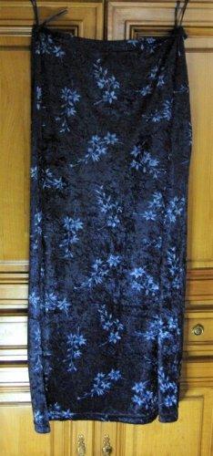 Maxirock dunkelblau in Samtoptik Gr. 42, geblümt von Elements