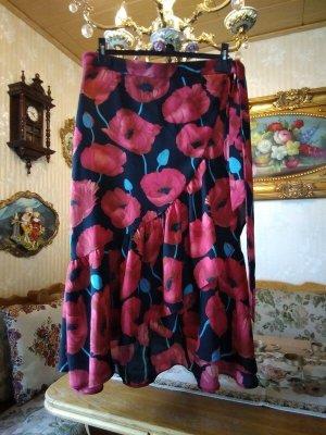 Maxirock, H&M, schwarz mit roten Blumen, Gr. 42