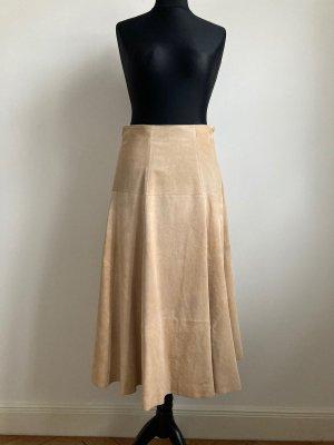 H&M Falda de cuero crema-nude Cuero