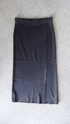 Falda larga negro-color plata tejido mezclado