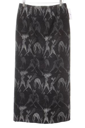 Maxirock schwarz-silberfarben abstraktes Muster Glanz-Optik