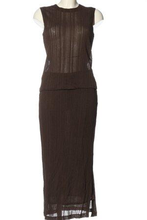 MaxMara Twin Set tejido marrón estampado a rayas elegante