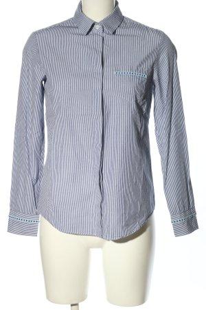 MaxMara Weekend Langarm-Bluse blau-weiß Allover-Druck Business-Look
