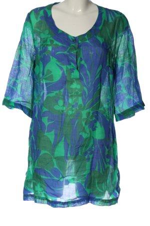 MaxMara Weekend Schlupf-Bluse blau-grün abstraktes Muster Casual-Look