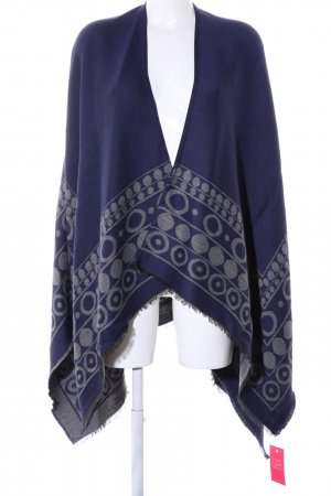 MaxMara Weekend Strickponcho blau-hellgrau grafisches Muster Casual-Look