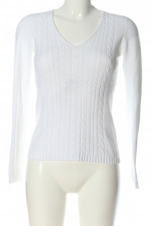 MaxMara Weekend V-Ausschnitt-Pullover weiß Zopfmuster Casual-Look
