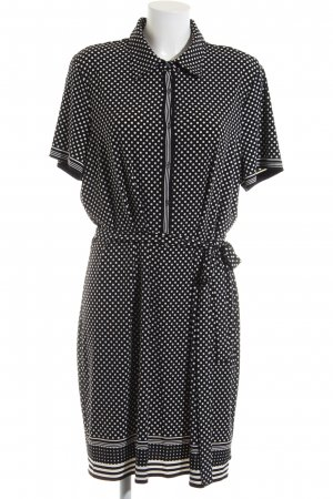 MaxStudio Hemdblusenkleid schwarz-weiß Punktemuster Business-Look