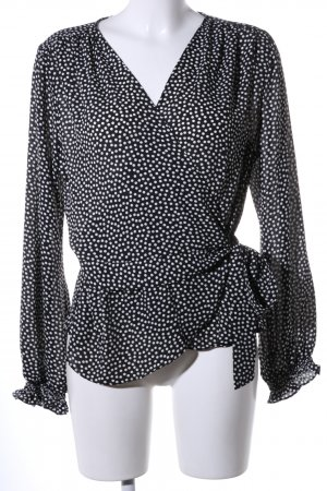 MaxStudio Langarm-Bluse schwarz-weiß Punktemuster Elegant