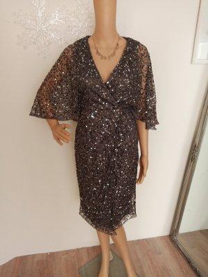 Maya Deluxe Abendkleid taupe Grau 36