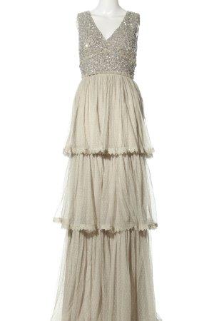 Maya Deluxe Flounce Dress cream spot pattern elegant