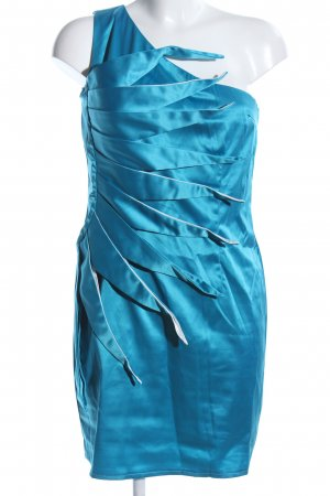 Mayaadi One-Shoulder-Kleid blau Glanz-Optik