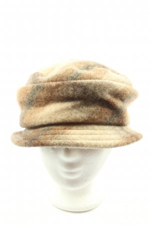 MAYSER Woolen Hat cream-brown check pattern casual look