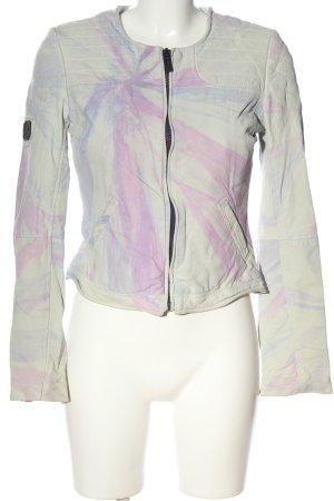 Maze Kunstlederjacke hellgrau-pink abstraktes Muster Casual-Look