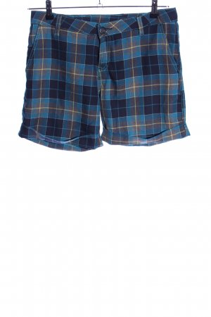 Mazine Hot Pants blau-blassgelb Karomuster Casual-Look