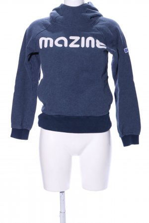 Mazine Hooded Sweater blue-white printed lettering athletic style