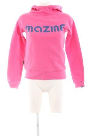 Mazine Kapuzensweatshirt pink-blau Schriftzug gedruckt Casual-Look