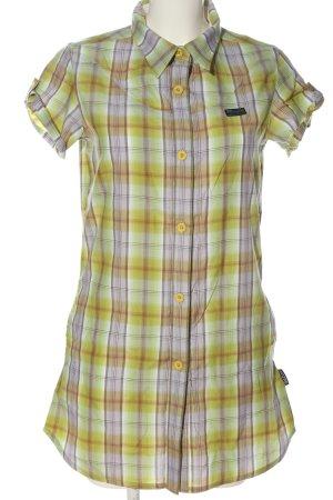 Mazine Camicia a maniche corte verde-lilla motivo a quadri stile casual