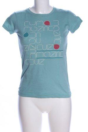 Mazine Print-Shirt blau Schriftzug gedruckt Casual-Look