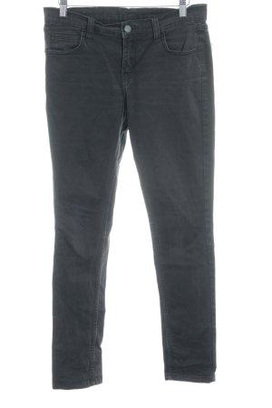 Mazine Skinny Jeans dunkelgrau Logo-Applikation aus Leder