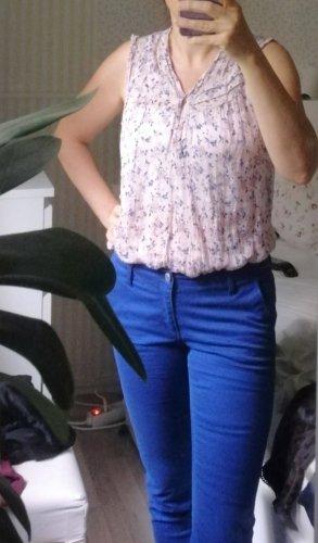 MBJ Maglia con scollo a V rosa antico-blu fiordaliso