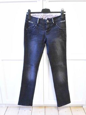 mbj Jeans Gr. 34 used washed Röhrenjeans Röhre Nieten schwarz grau