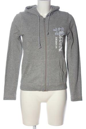 MBJ Felpa con cappuccio grigio chiaro puntinato stile casual