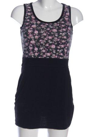 MBJ Abito scamiciato nero-rosa motivo floreale stile casual
