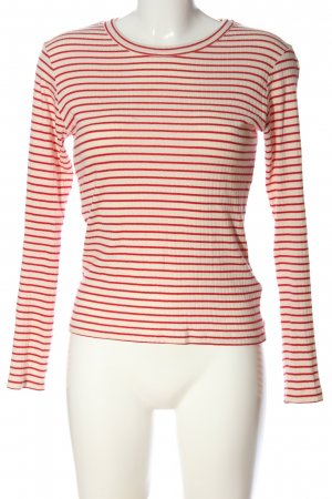 mbyM Langarm-Bluse wollweiß-rot Streifenmuster Casual-Look
