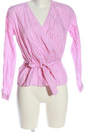 mbyM Langarm-Bluse pink-weiß Allover-Druck Casual-Look