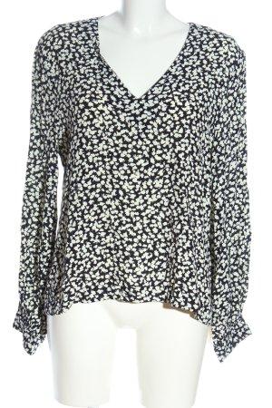 mbyM Camicetta a maniche lunghe nero-bianco motivo floreale stile casual