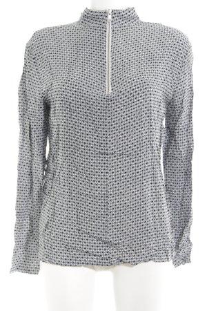 mbyM Langarm-Bluse weiß-schwarz abstraktes Muster Elegant