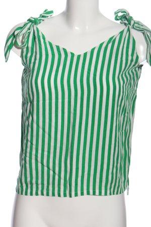 mbyM ärmellose Bluse grün-weiß Streifenmuster Casual-Look