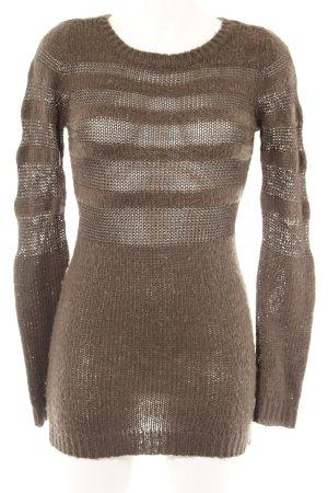 mbyM Strickkleid graubraun Streifenmuster