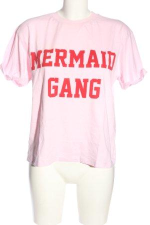 mbyM T-Shirt pink-rot Schriftzug gedruckt Casual-Look