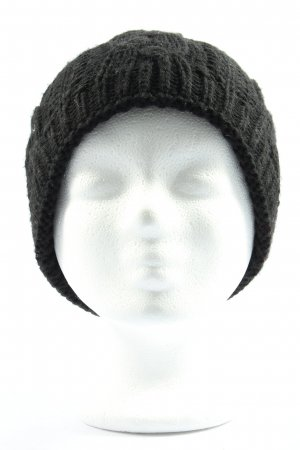 Mc Burn Cappello all'uncinetto nero punto treccia stile casual